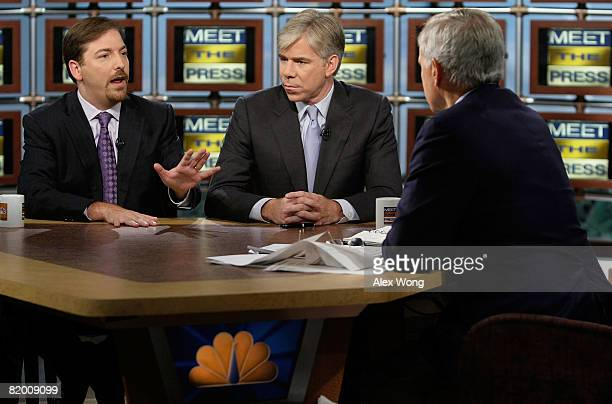 NBC News Political Director Chuck Todd speaks as NBC Chief White House Correspondent David Gregory and moderator Tom Brokaw look on during a taping...