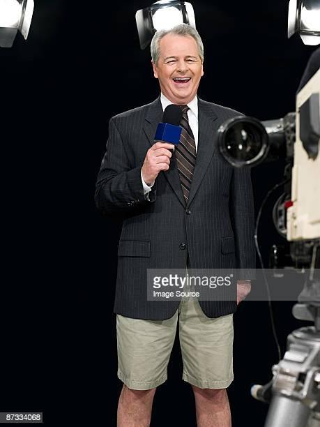 News presenter in shorts