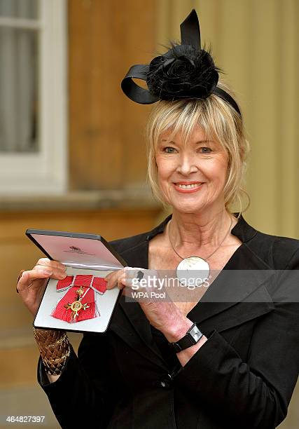 News presenter Julia Somerville holds her OBE presented to her by the Prince of Wales during an investiture ceremony at Buckingham Palace on January...