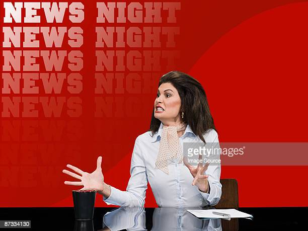 News presenter shouting