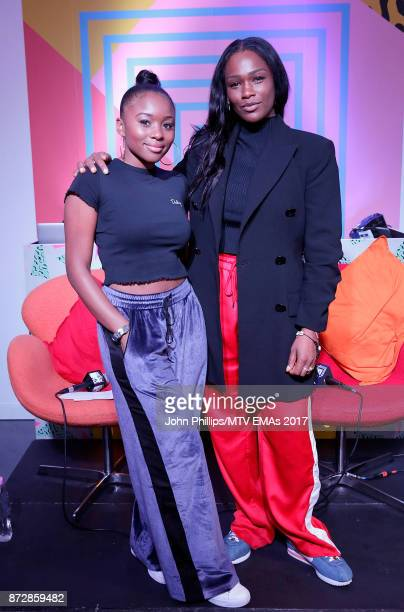 News Presenter Tinea Taylor and Sharmadean Reid Founder of WAH Nails during the MTV EMAs 2017 Breaks Sessions on November 11 2017 in London England