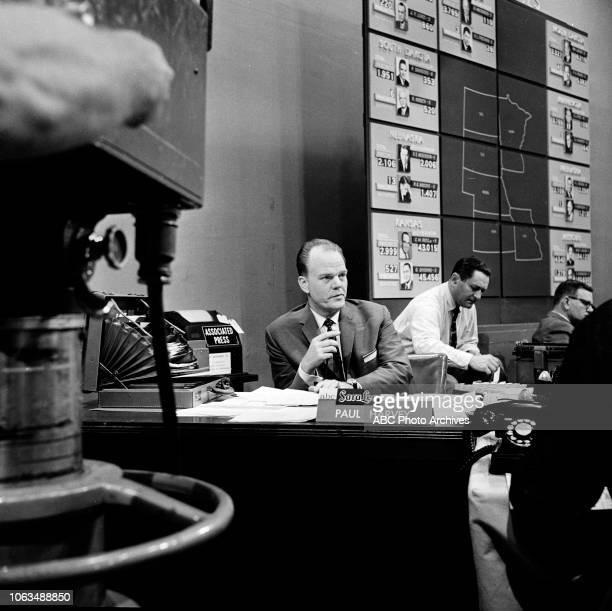 ABC News Radio anchor Paul Harvey at ABC News election headquarters 1958