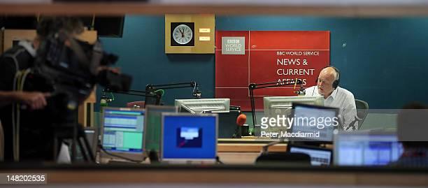 BBC news reader Iain Purdon reads the last ever World Service radio bulletin from Bush House on July 12 2012 in London England Bush House home to...