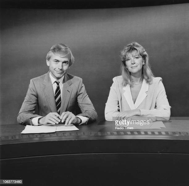News readers Julia Somerville and John Humphrys pictured on the set of the Nine O'Clock News, August 1985.