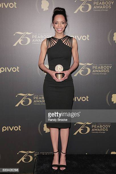 News Reporter Caitlin Dickerson in the press room with a Peabody Award for Secret Mustard Gas Experiments during the 75th Annual Peabody Awards...