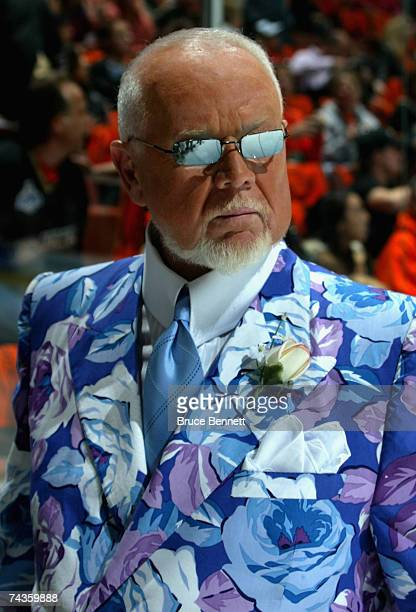 News reporter Don Cherry walks on the ice before the start of Game Two of the 2007 Stanley Cup finals between the Anaheim Ducks and the Ottawa...