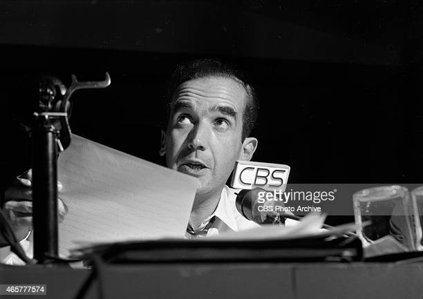 News reporter Edward R Murrow at the Presidential Election night coverage at CBS Studio Building 49 East 52 ST New York NY Image dated November 2 1948