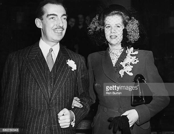 BBC news reporter Edward Ward 7th Viscount Bangor and his new wife Leila Mary Heaton smiling after their wedding at Caxton Hall London 1947