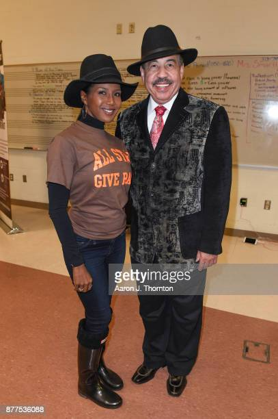 News Reporter Glenda Lewis and Judge Craig Strong attend the 2017 Annual AllStar Giveback Thanksgiving Edition on November 21 2017 in Detroit Michigan