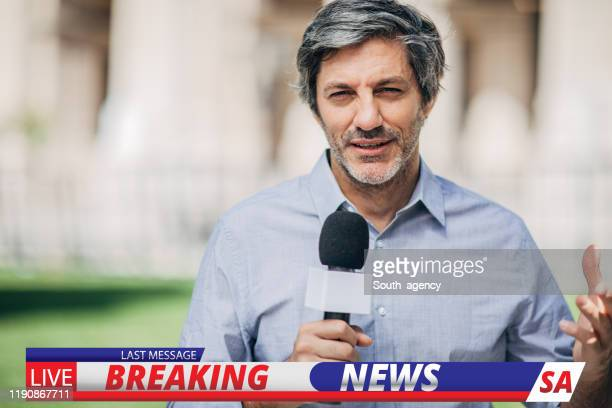 news reporter in live broadcasting - newscaster stock pictures, royalty-free photos & images