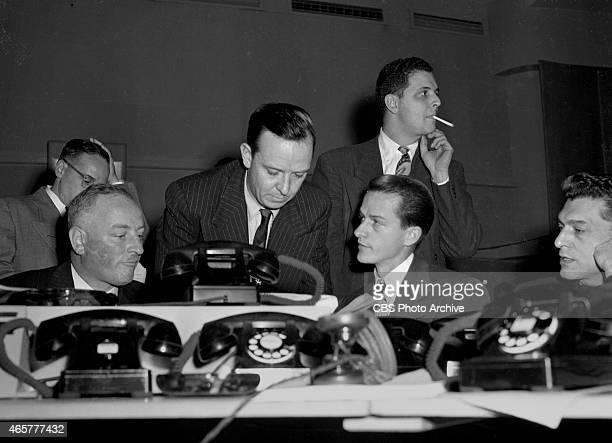 News reporter John Daly center looking down reporting election night coverage at CBS Studio Building 49 East 52 ST New York NY Image dated November 2...