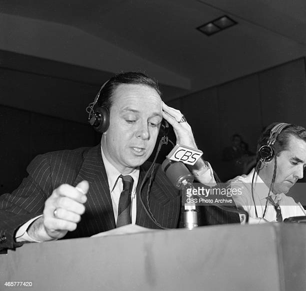 News reporter John Daly left reporting election night coverage at CBS Studio Building 49 East 52 ST New York NY Image dated November 2 1948 To his...