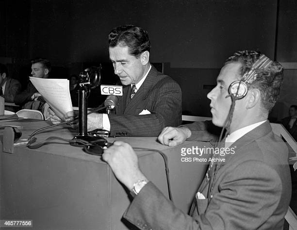 News reporter Lowell Thomas reporting at the Presidential Election night coverage at CBS Studio Building 49 East 52 ST New York NY Image dated...