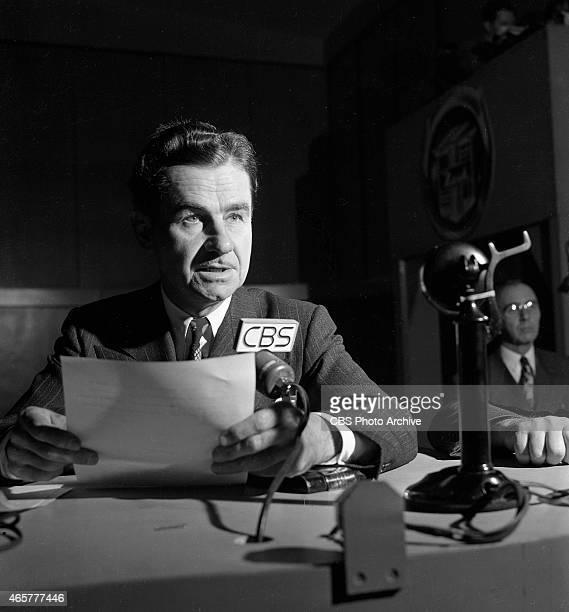 News reporter Lowell Thomas reporting election night coverage at CBS Studio Building 49 East 52 ST New York NY Image dated November 2 1948