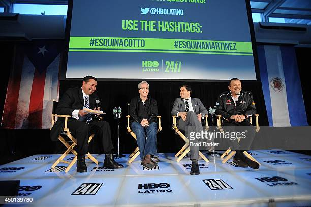 News Reporter Mario Diaz Freddie Roach Peter Nelson and Sampson Lewkowicz attend the HBO Latino's Choose Your Esquina 24/7 Cotto/Martinez Event at...