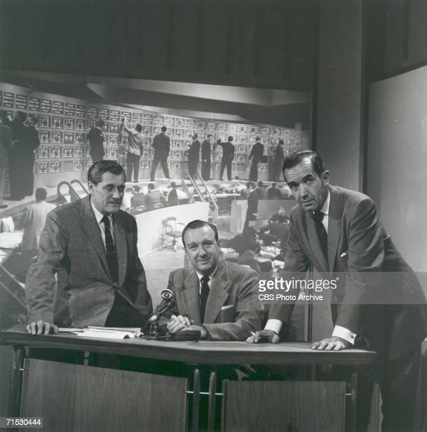 NEW YORK OCTOBER 9 CBS News reporters Eric Sevareid Walter Cronkite and Edward R Murrow pose by a news desk Image dated October 9 1958 Advance art...