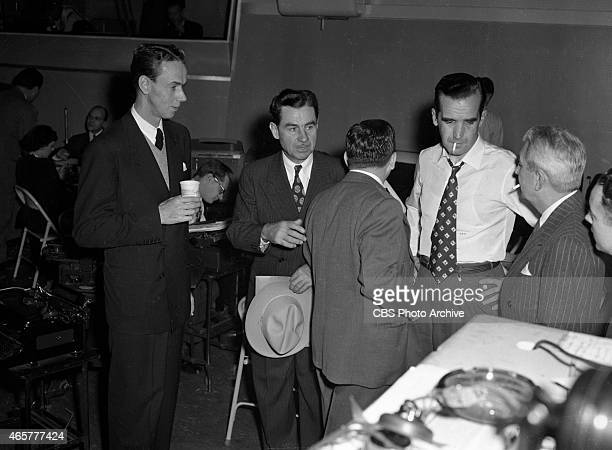News reporters Lowell Thomas and Edward R Murrow reporting election night coverage at CBS Studio Building 49 East 52 ST New York NY Image dated...