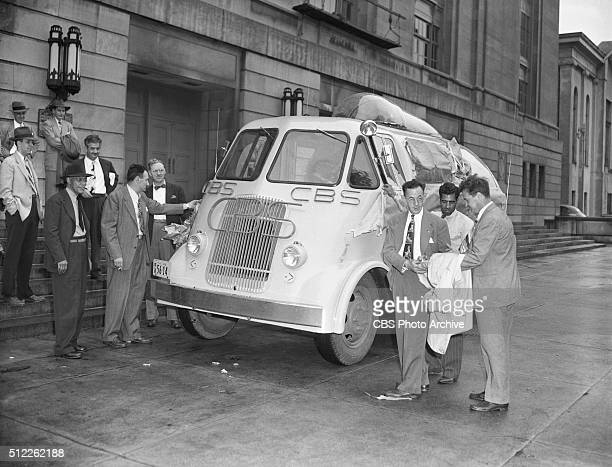 News reports from the 1948 Republican National Convention Philadelphia Pennsylvania A weatherproof press box built on a truck chassis for CBS can...