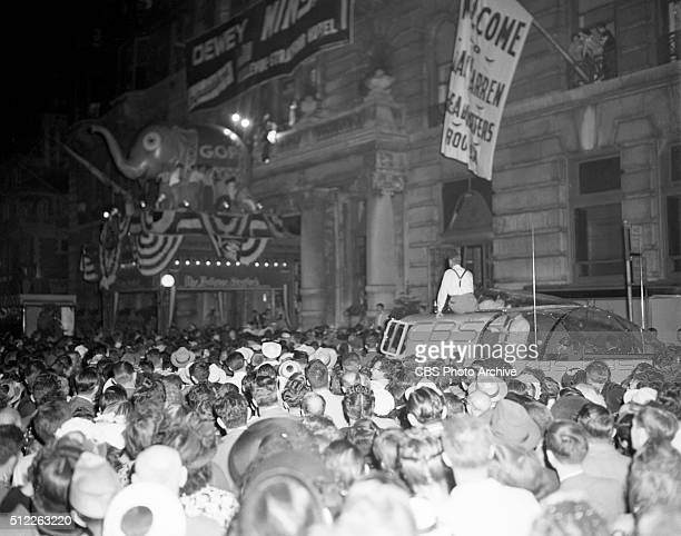 News reports from the 1948 Republican National Convention Philadelphia Pennsylvania June 25 1948 Crowds gather around the weatherproof press box...