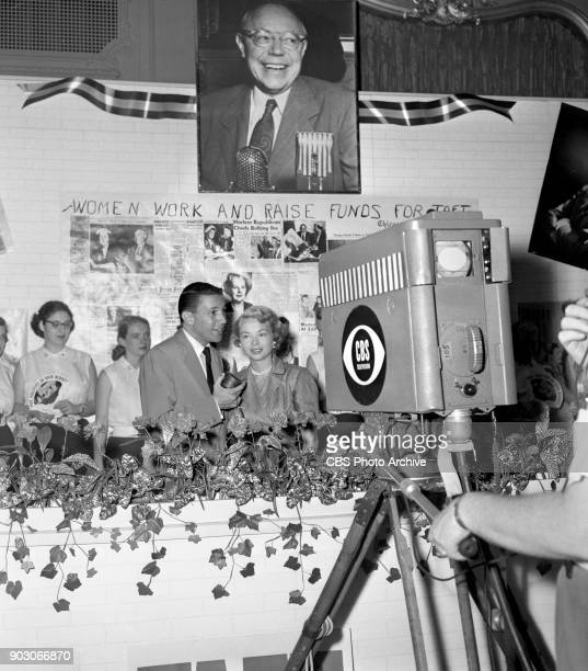 News reports from the 1952 Republican National Convention at the International Amphitheatre Chicago Illinois July 11 1952 Pictured is husband and...