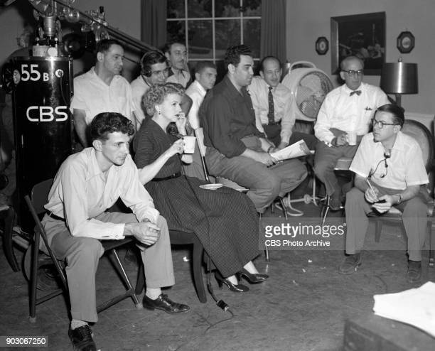News reports from the 1952 Republican National Convention , Chicago, Illinois, July 11, 1952. Pictured is Betty Furness with other CBS employees.