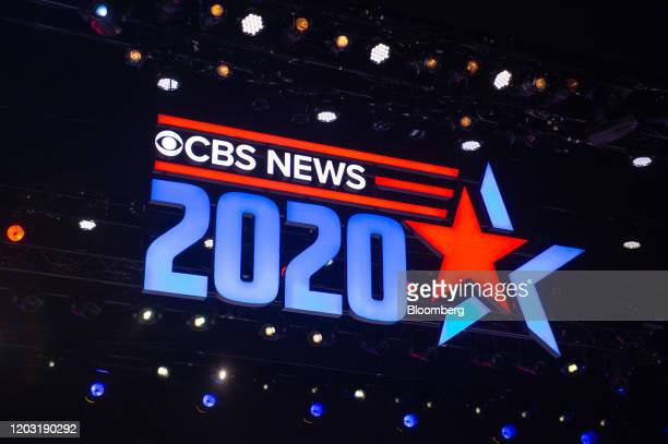 CBS News signage is displayed in the debate hall ahead of the Democratic presidential debate in Charleston South Carolina US on Tuesday Feb 25 2020...