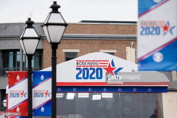 CBS News signage is displayed outside of the Charleston Gaillard Center ahead of the Democratic presidential debate in Charleston South Carolina US...