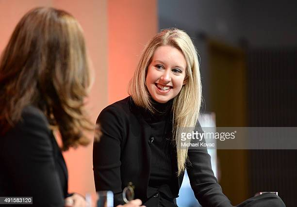 News Special Anchor Maria Shriver and Theranos Founder and CEO Elizabeth Holmes speak onstage during True Blood—Diagnostics in the New Age at the...