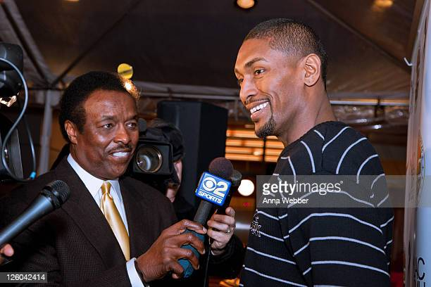 News Sports Director Jim Hill and Los Angeles Laker Ron Artest at Ron Artest's debut of his PSA You Can Do It at AEG's Season Of Giving Mental Health...