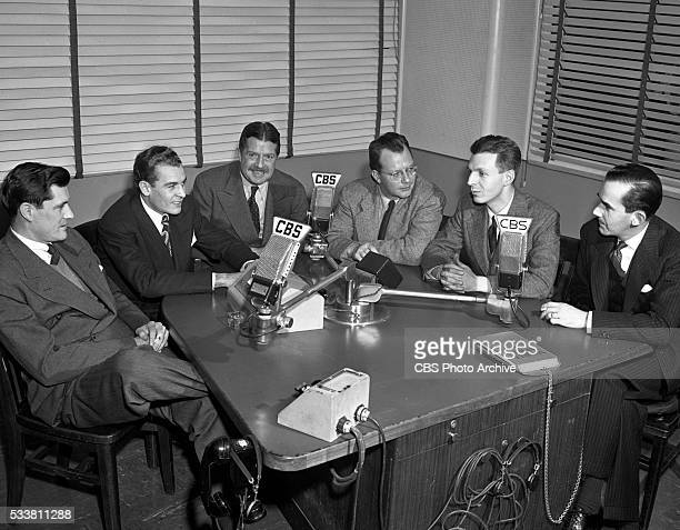 News staff left to right Eric Sevareid Charles Collingwood Paul White Bill Downs Richard C Hottelet and Edward R Murrow Image dated December 13 1945...