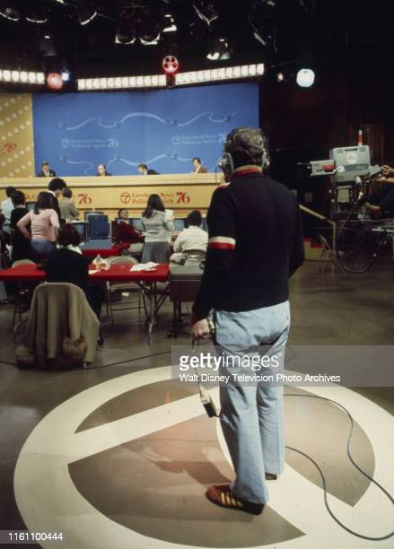 News studio, election night coverage of the 1976 Presidential election.
