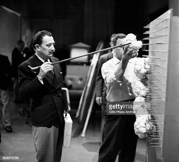 News' The Morning Show featuring visiting guest Salvador Dali with technicians in control room New York NY Image dated January 11 1956