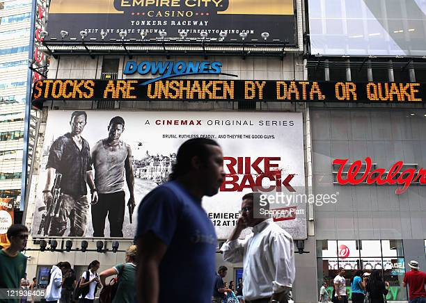 A news ticker in Times Square comments on an earlier earthquake on August 23 2011 in New York City The epicenter of the 58 earthquake was located...