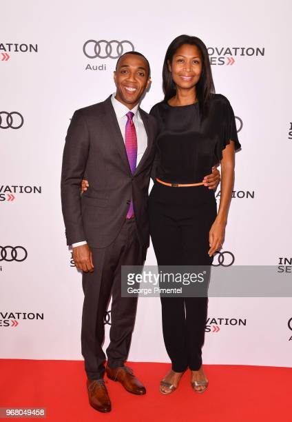 News Toronto anchor Dwight Drummond and Janice Drummond attend the The Audi Innovation Series hosted by CoFounder of Netflix Marc Randolph held at...