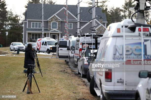 News trucks line the street outside the home of New England Patriots player Rob Gronkowski in Foxborough MA on Feb 6 2018 Gronkowskis home was broken...