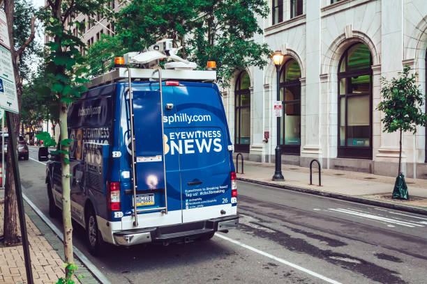 CBS TV news van in Philadelphia