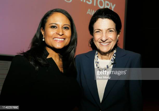 News White House Correspondent Kristen Welker and Honoree Former US Senator Olympia J Snowe speak onstage during the National Women's History...
