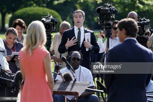 News White House Correspondent Peter Alexander questions Counselor to the President Kellyanne Conway outside the West Wing following her television...