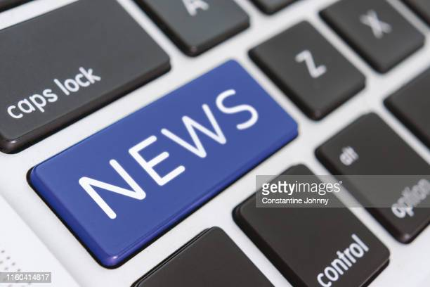 news word on computer keyboard keys - announcement message stock pictures, royalty-free photos & images