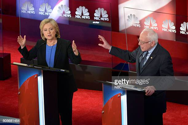 News YouTube Democratic Candidates Debate Pictured Fmr Secretary of State Hillary Clinton and Vermont Sen Bernie Sanders appear during the NBC News...