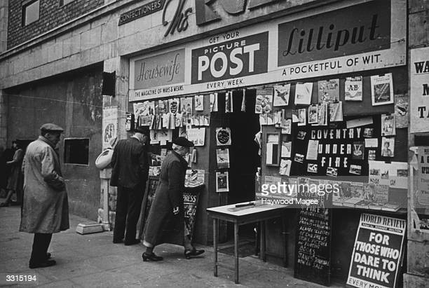 A newsagent's shop in Coventry selling Picture Post Lilliput and Housewife magazines Original Publication Picture Post 1168 Coventry unpub