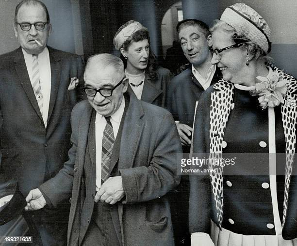 Newsboy Harry Schwartz a fixture at the corner of King and Yonge Sts For 61 years leaves old city hall registry office after his marriage yesterday...