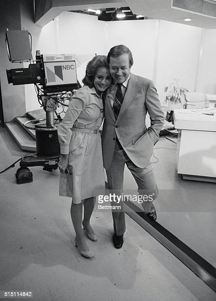 "Newscaster barbara Walters receives a good bye hug from Hugh downs, her former co-host on NBC-TV's ""Today Show,"" here June 3 during her last..."