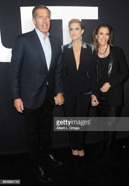 Newscaster Brian Williams actress Allison Williams and mother Jane Stoddard William arrive for the Screening Of Universal Pictures' 'Get Out' held at...