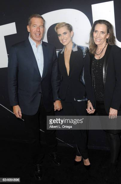 Newscaster Brian Williams actress Allison Williams and mother Jane Stoddard William arrive for the Screening Of Universal Pictures' Get Out held at...