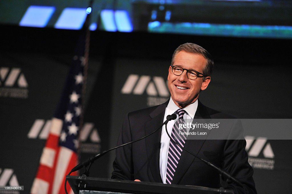 Newscaster Brian Williams speaks at IAVA's Sixth Annual Heroes Gala at Cipriani 42nd Street on November 13, 2012 in New York City.