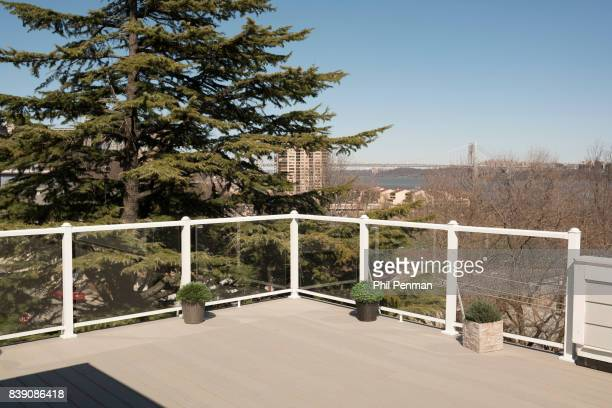 Newscaster Harris Faulkner's home is photographed for Closer Weekly Magazine on March 22 2017 in northern New Jersey Rooftop deck with a panoramic...