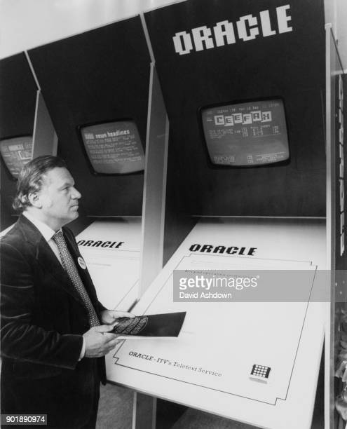 Newscaster Reginald Bosanquet demonstrates ORACLE, ITV's teletext service, and accidentally accesses CEEFAX, the BBC's information service, circa...
