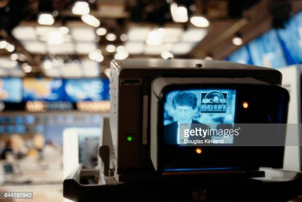 Newscaster Ted Koppel is seen through a television camera during a broadcast of the ABC program Nightline Koppel has been anchor of the news program...