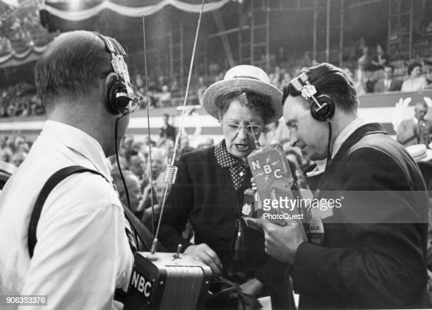 NBC newscasters interview a female delegate on the floor of the International Amphitheatre during the Republic National Convention Chicago Illinois...